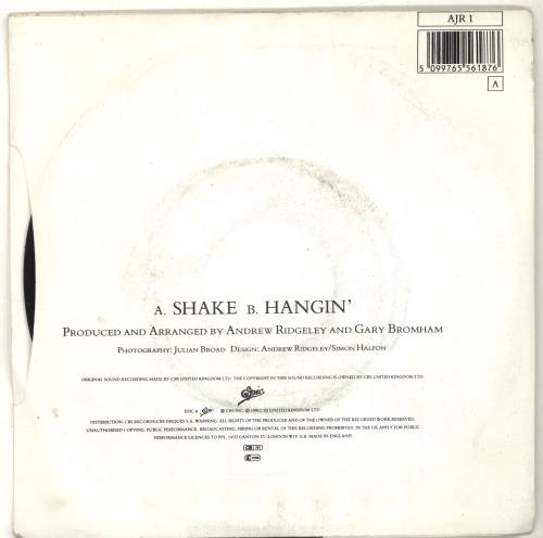 "Andrew Ridgeley Shake 7"" vinyl single (7 inch record) UK RDG07SH520770"