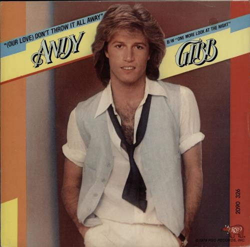 """Andy Gibb (Our Love) Don't Throw It All Away - Wide + Sleeve 7"""" vinyl single (7 inch record) Dutch AGI07OU764925"""