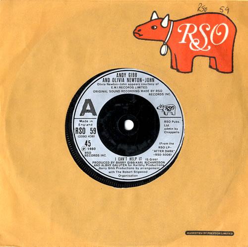 "Andy Gibb I Can't Help It 7"" vinyl single (7 inch record) UK AGI07IC560298"