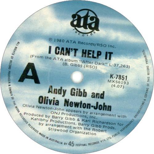 "Andy Gibb I Can't Help It 7"" vinyl single (7 inch record) Australian AGI07IC73829"