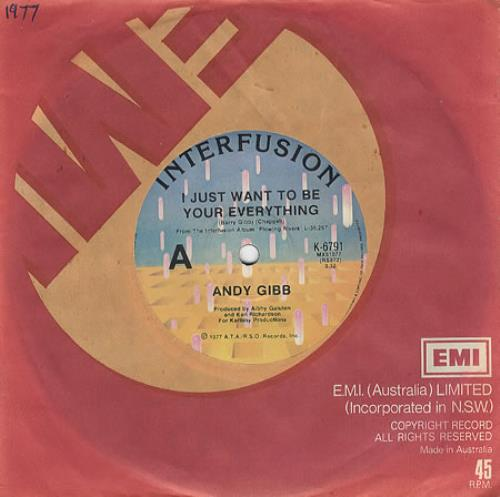 """Andy Gibb I Just Want To Be Your Everything 7"""" vinyl single (7 inch record) Australian AGI07IJ73826"""