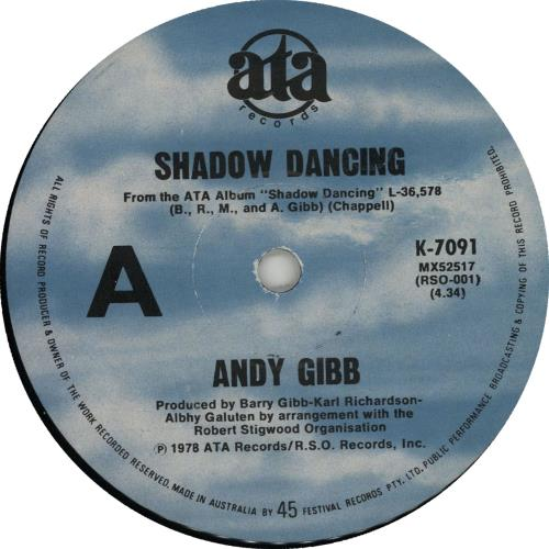 "Andy Gibb Shadow Dancing 7"" vinyl single (7 inch record) Australian AGI07SH73825"