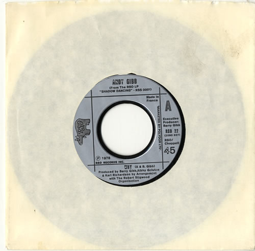 """Andy Gibb Why 7"""" vinyl single (7 inch record) French AGI07WH599808"""