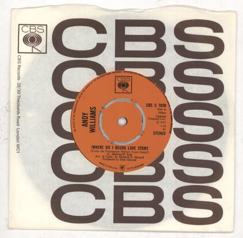 """Andy Williams (Where Do I Begin) Love Story - 4pr 7"""" vinyl single (7 inch record) UK AWI07WH511658"""