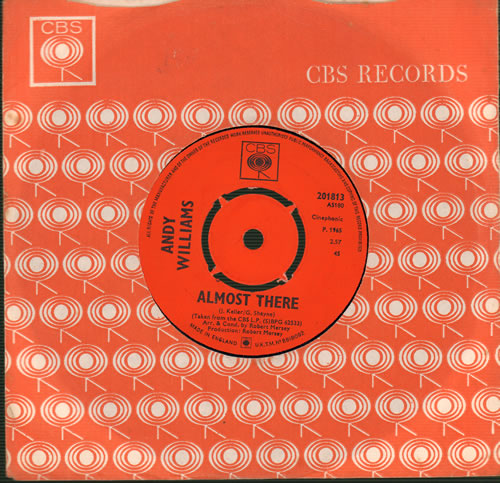 """Andy Williams Almost There 7"""" vinyl single (7 inch record) UK AWI07AL504394"""