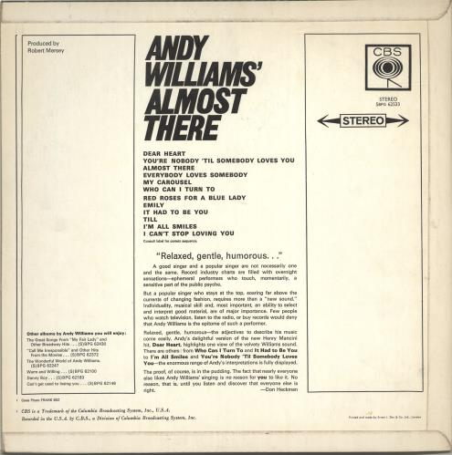 Andy Williams Almost There vinyl LP album (LP record) UK AWILPAL691528