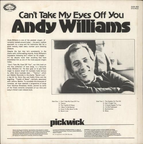 Andy Williams Can't Take My Eyes Off You vinyl LP album (LP record) UK AWILPCA749299