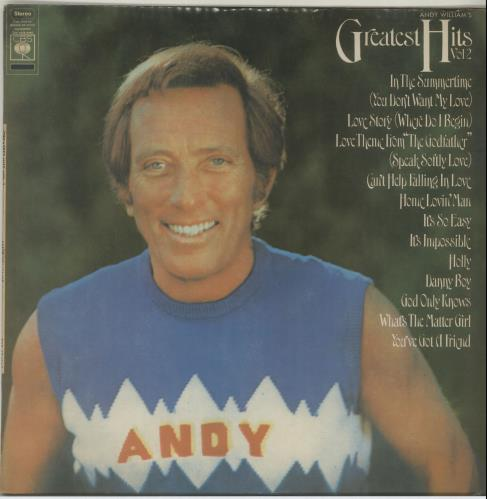Andy Williams Greatest Hits Volume 2 vinyl LP album (LP record) New Zealand AWILPGR654103