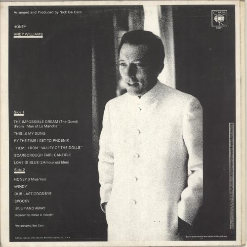 Andy Williams Honey vinyl LP album (LP record) UK AWILPHO713533
