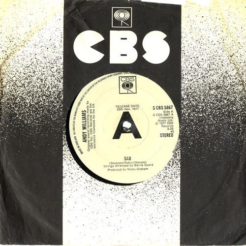 "Andy Williams Sad 7"" vinyl single (7 inch record) UK AWI07SA560148"