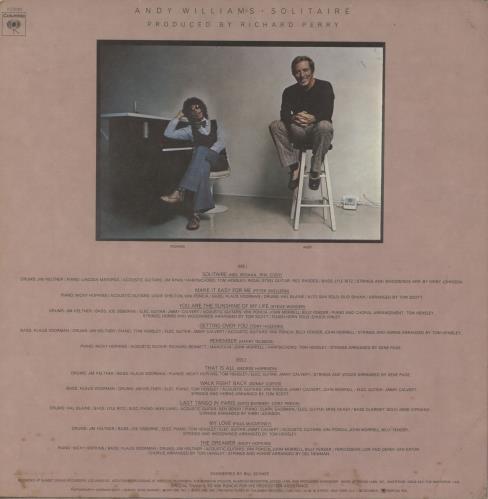 Andy Williams Solitaire vinyl LP album (LP record) US AWILPSO754584