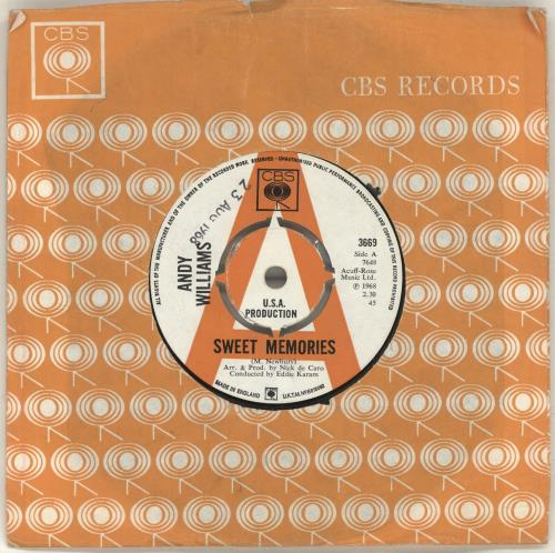 """Andy Williams Sweet Memories - A Label 7"""" vinyl single (7 inch record) UK AWI07SW698039"""
