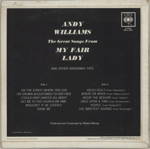 Andy Williams The Great Songs From My Fair Lady vinyl LP album (LP record) UK AWILPTH753704