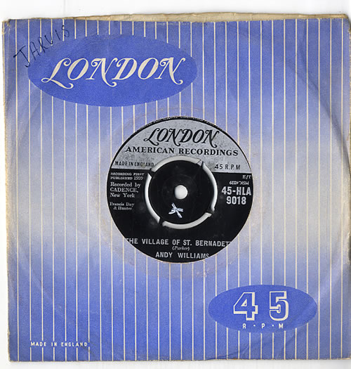 """Andy Williams The Village Of St. Bernadette 7"""" vinyl single (7 inch record) UK AWI07TH619313"""