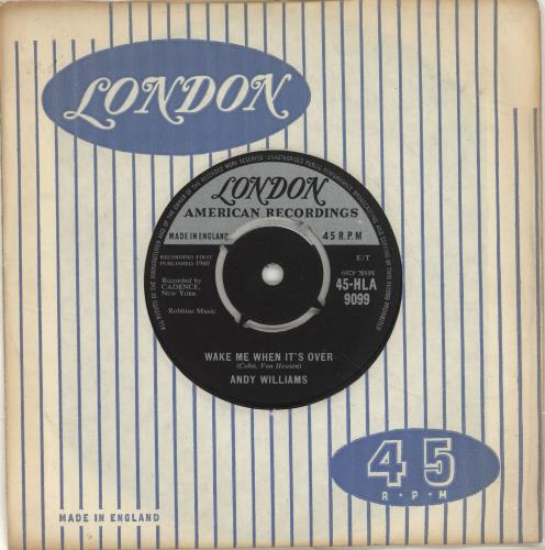 """Andy Williams Wake Me When It's Over 7"""" vinyl single (7 inch record) UK AWI07WA697707"""