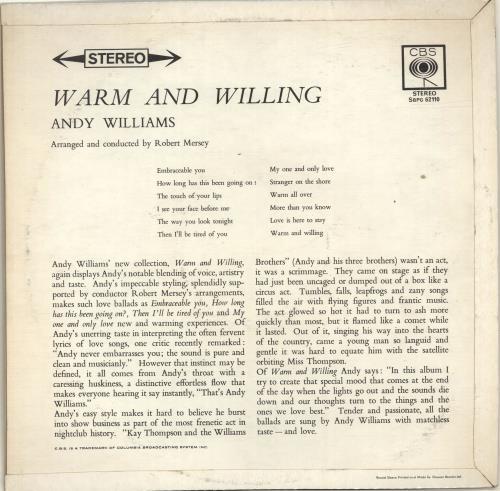 Andy Williams Warm And Willing vinyl LP album (LP record) UK AWILPWA693432