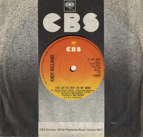 """Andy Williams You Lay So Easy On My Mind 7"""" vinyl single (7 inch record) UK AWI07YO561106"""