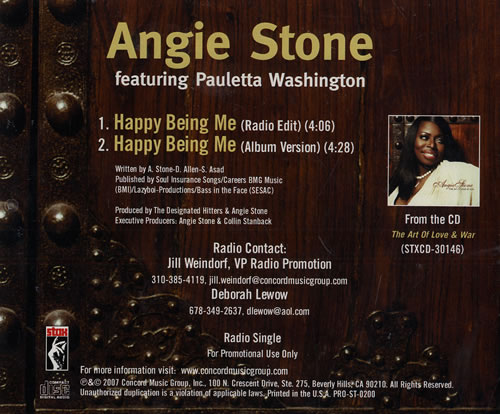 Angie Stone Happy Being Me CD-R acetate US GIECRHA449968