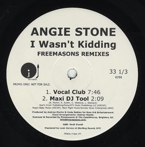 "Angie Stone I Wasn't Kidding - Freemasons Remixes 12"" vinyl single (12 inch record / Maxi-single) US GIE12IW362271"