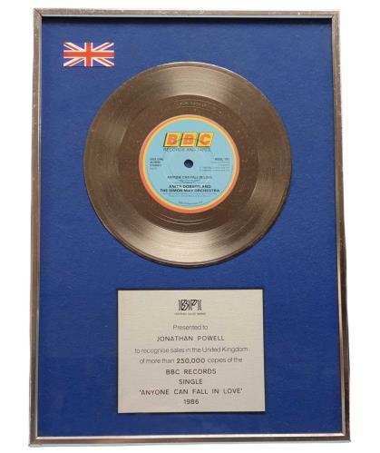 Anita Dobson Anyone Can Fall In Love award disc UK ANIAWAN747835