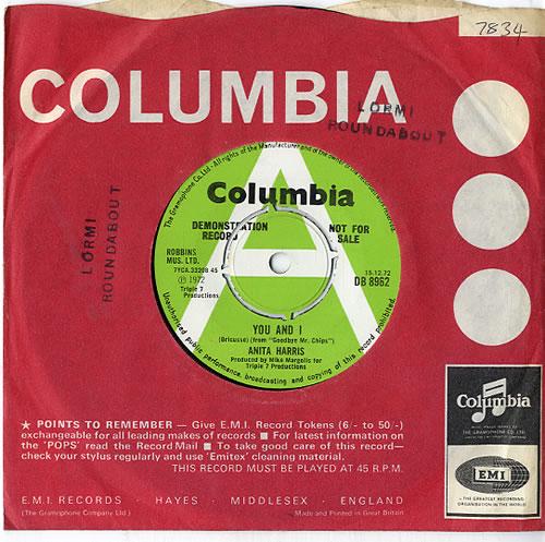 "Anita Harris You And I 7"" vinyl single (7 inch record) UK AHQ07YO613394"