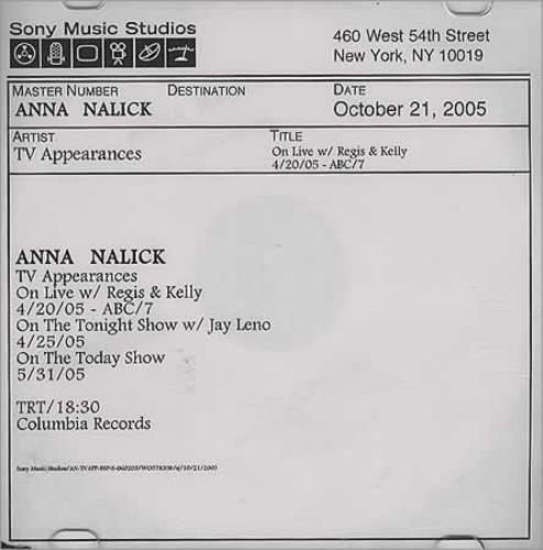 "Anna Nalick TV Appearances CD single (CD5 / 5"") US AC4C5TV395294"