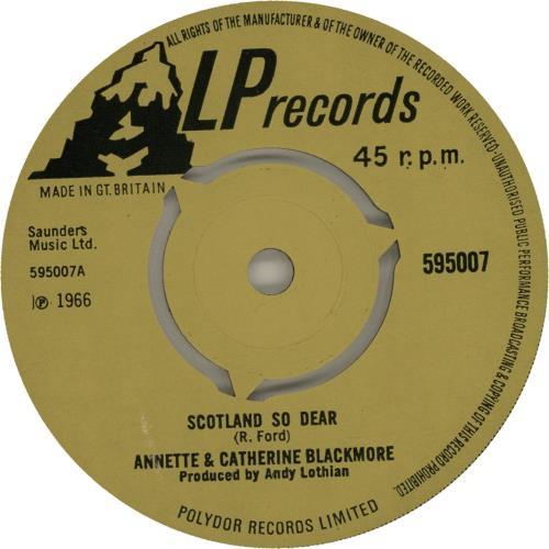 """Annette & Catherine Blackmore Scotland So Dear 7"""" vinyl single (7 inch record) UK A&C07SC486955"""