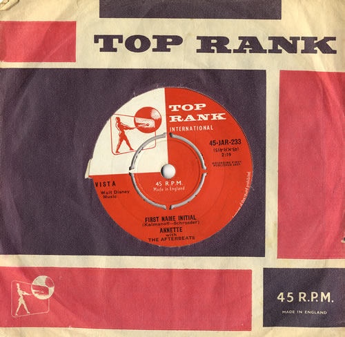 """Annette Funicello First Name Initial 7"""" vinyl single (7 inch record) UK AO507FI555629"""