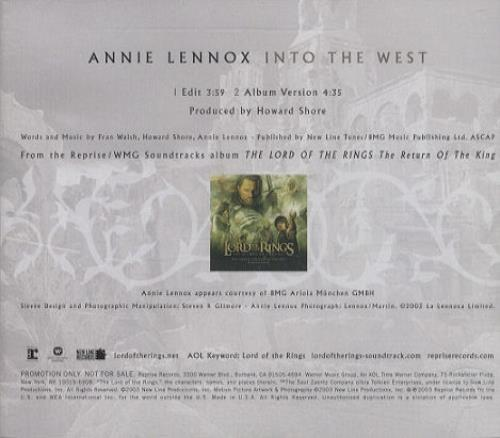 """Annie Lennox Into The West CD single (CD5 / 5"""") US ANNC5IN269569"""