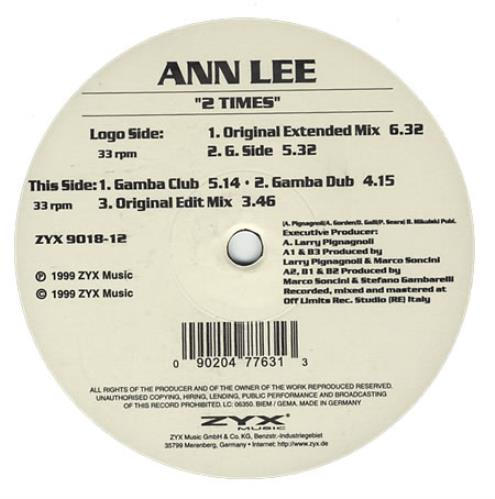 Ann Lee 2 Times German 12 Quot Vinyl Single 12 Inch Record