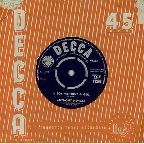 """Anthony Newley A Boy Without A Girl 7"""" vinyl single (7 inch record) UK AN307AB408287"""