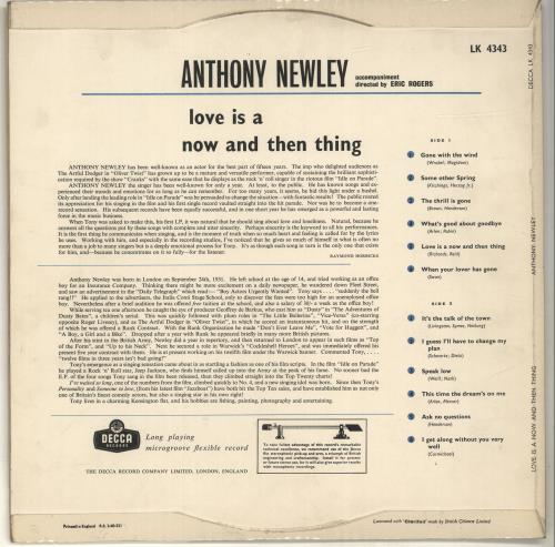 Anthony Newley Love Is A Now And Then Thing vinyl LP album (LP record) UK AN3LPLO696930