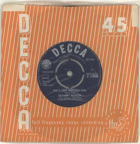 """Anthony Newley She's Just Another Girl 7"""" vinyl single (7 inch record) UK AN307SH698324"""