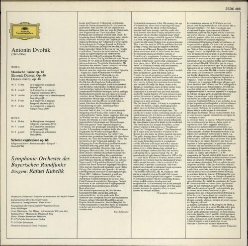 Antonín Dvorák Dvorák: Slawische Tänze, Op. 46 • Slavonic Dances, Op. 46 • Scherzo Capriccioso vinyl LP album (LP record) UK DDQLPDV769662