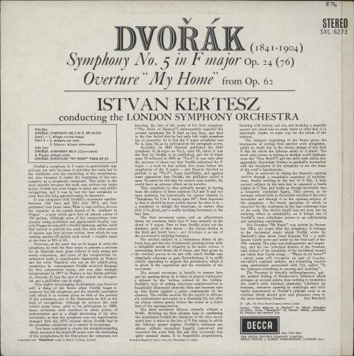 Antonín Dvorák Symphony No. 5 vinyl LP album (LP record) UK DDQLPSY763478
