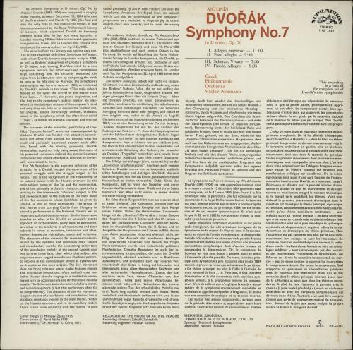 Antonín Dvorák Symphony No. 7 in D Minor vinyl LP album (LP record) Czech DDQLPSY751541