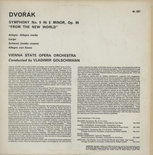 "Antonín Dvorák Symphony No. 9 in E Minor, Op.95 ""From The New World"" vinyl LP album (LP record) UK DDQLPSY757409"