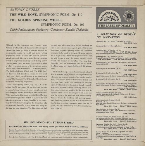 Antonín Dvorák The Wild Dove / The Golden Spinning Wheel vinyl LP album (LP record) UK DDQLPTH759055