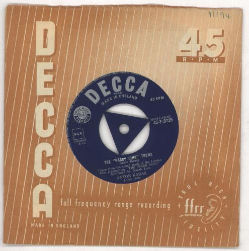 "Anton Karas The Harry Lime Theme 7"" vinyl single (7 inch record) UK A6U07TH734897"