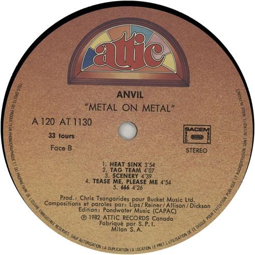 Anvil Metal On Metal vinyl LP album (LP record) French AV5LPME637629