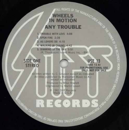 Any Trouble Wheels In Motion - Gold stamped vinyl LP album (LP record) US AT6LPWH765671