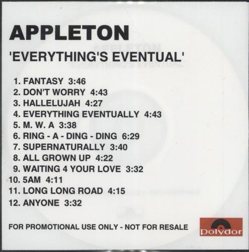 Appleton Everything's Eventual CD-R acetate UK N&NCREV236495