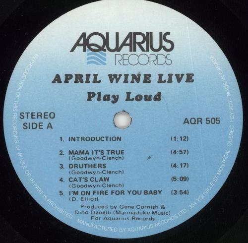 April Wine Live vinyl LP album (LP record) Canadian APWLPLI724700