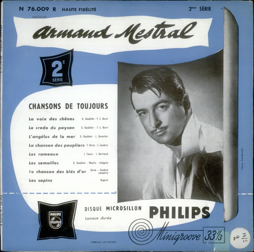 "Armand Mestral Chansons de Toujours 10"" vinyl single (10"" record) French A3610CH540332"
