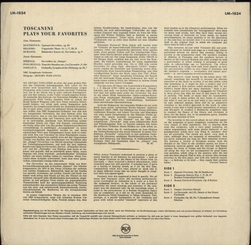 Arturo Toscanini Toscanini Plays Your Favourites vinyl LP album (LP record) German A35LPTO765010