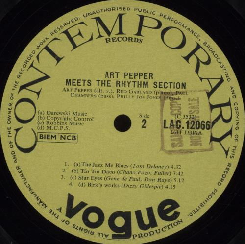 Art Pepper Meets The Rhythm Section - 1st - Sample vinyl LP album (LP record) UK A/PLPME594502