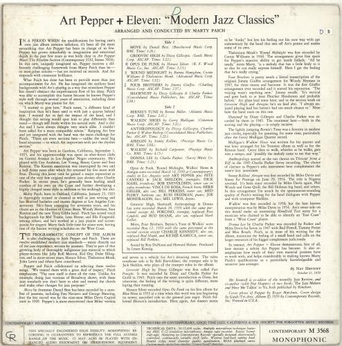 Art Pepper Modern Jazz Classics vinyl LP album (LP record) US A/PLPMO689480
