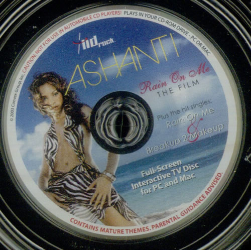 "ASHANTI Rain On Me (2003 US 2-track limited edition enhanced 'Lid Rock' 3"" picture CD, also includes the track Break Up To Make Up and the the CD-Rom video ..."