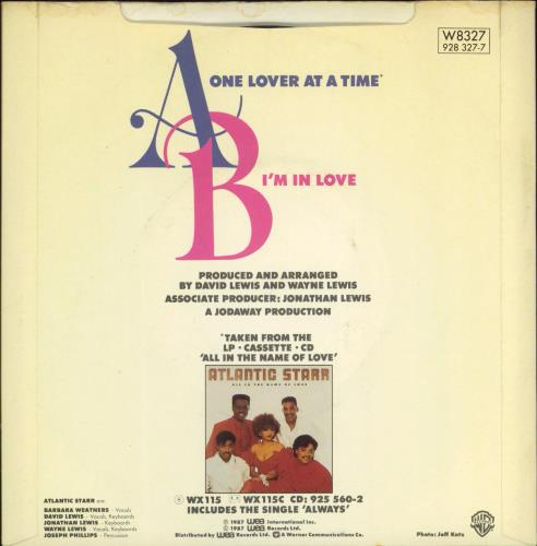"""Atlantic Starr One Lover At A Time 7"""" vinyl single (7 inch record) UK ATL07ON770435"""