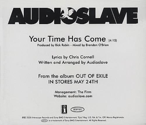 Audioslave Your Time Has Come Us Cd R Acetate 352244